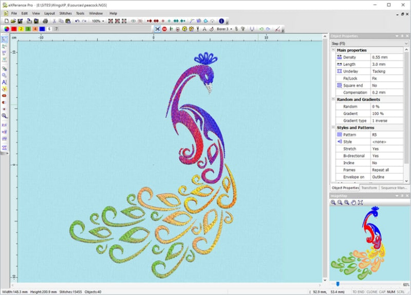 Wings' XP Embroidery Software Screenshot of Peacock Design
